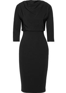 Badgley Mischka Woman Gathered Stretch-ponte Dress Black