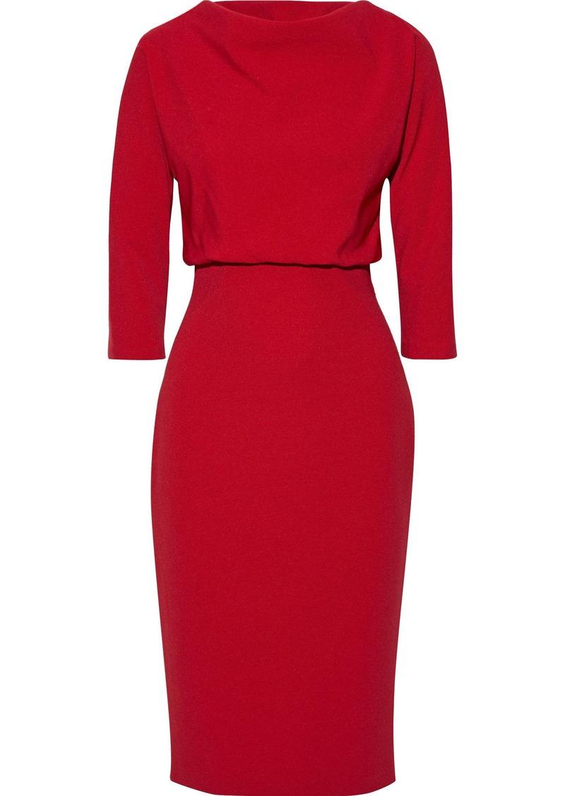 Badgley Mischka Woman Gathered Stretch-ponte Dress Crimson
