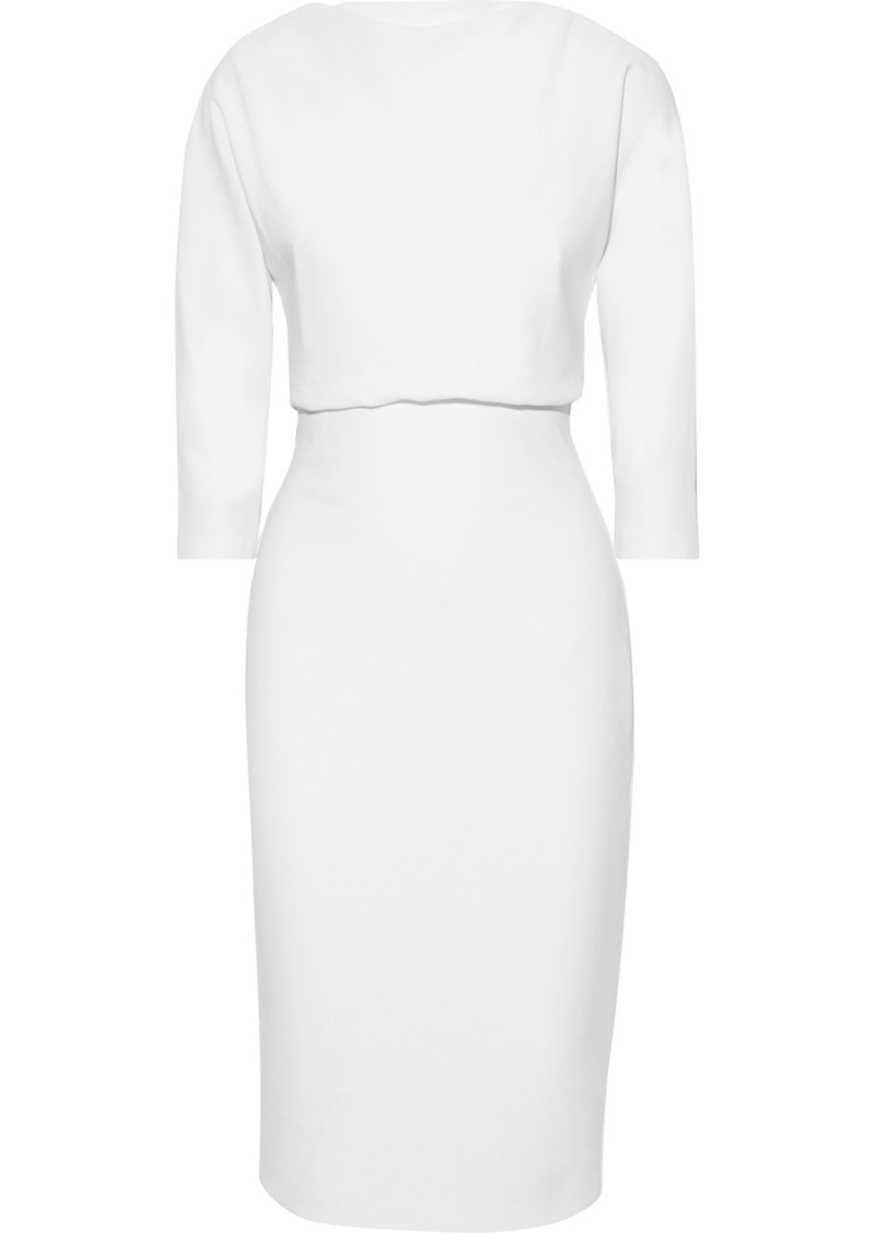 Badgley Mischka Woman Gathered Stretch-ponte Dress Ivory