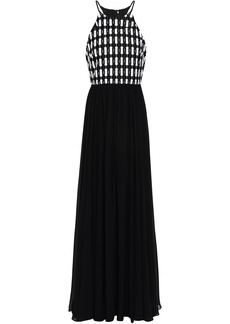 Badgley Mischka Woman Guipure Lace-paneled Chiffon Gown Black