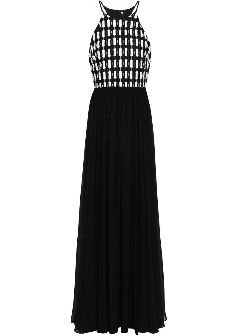 Badgley Mischka Woman Guipure Lace-paneled Chiffon Gown Black