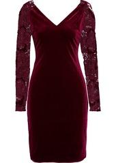 Badgley Mischka Woman Guipure Lace-paneled Velvet Dress Plum