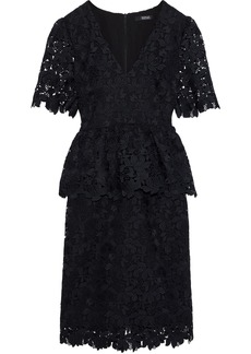 Badgley Mischka Woman Guipure Lace Peplum Dress Black