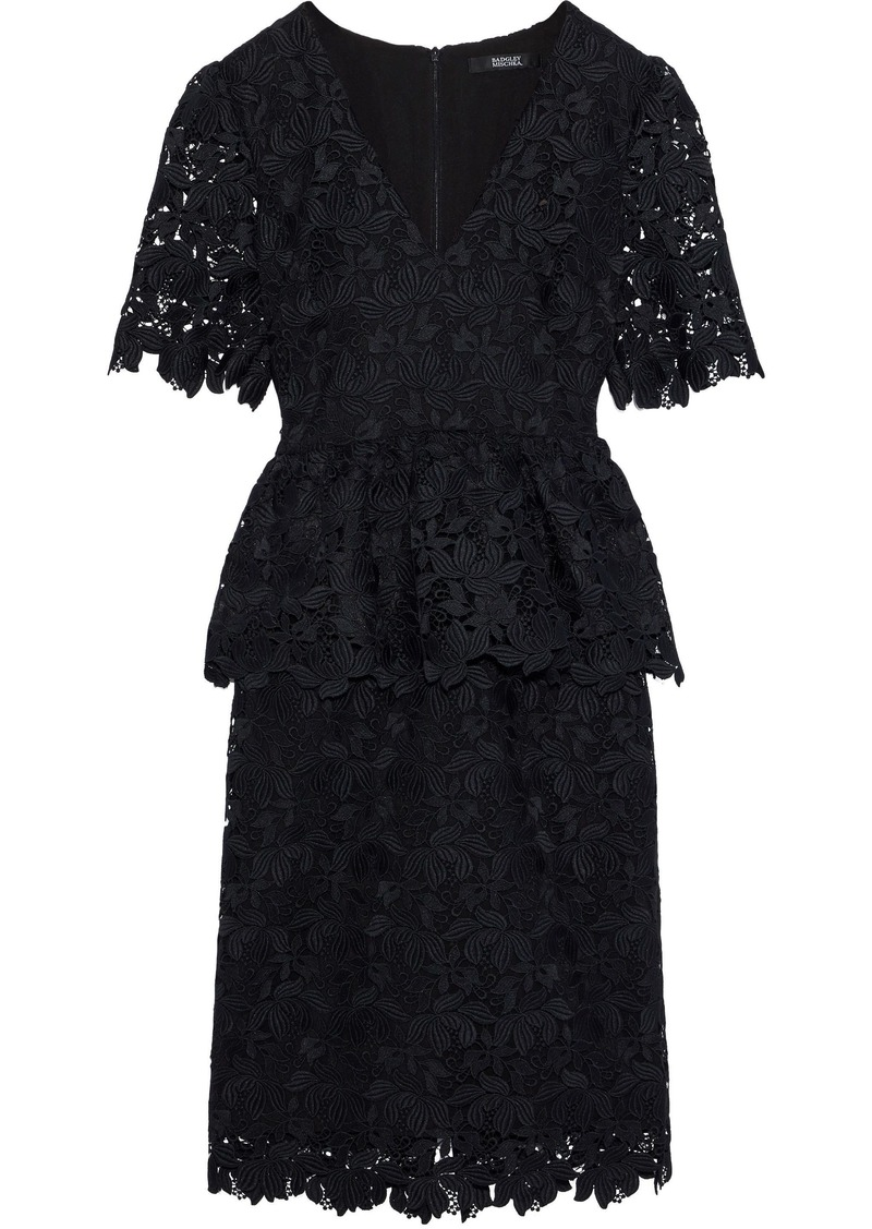 Badgley Mischka Woman Guipure Lace Peplum Dress Black