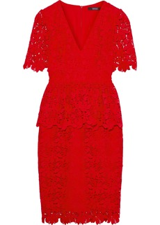 Badgley Mischka Woman Guipure Lace Peplum Dress Red