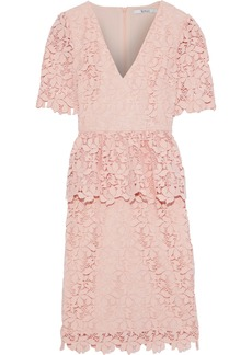 Badgley Mischka Woman Guipure Lace Peplum Dress Blush