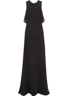 Badgley Mischka Woman Jennifer Embroidered Mesh And Crepe Gown Black
