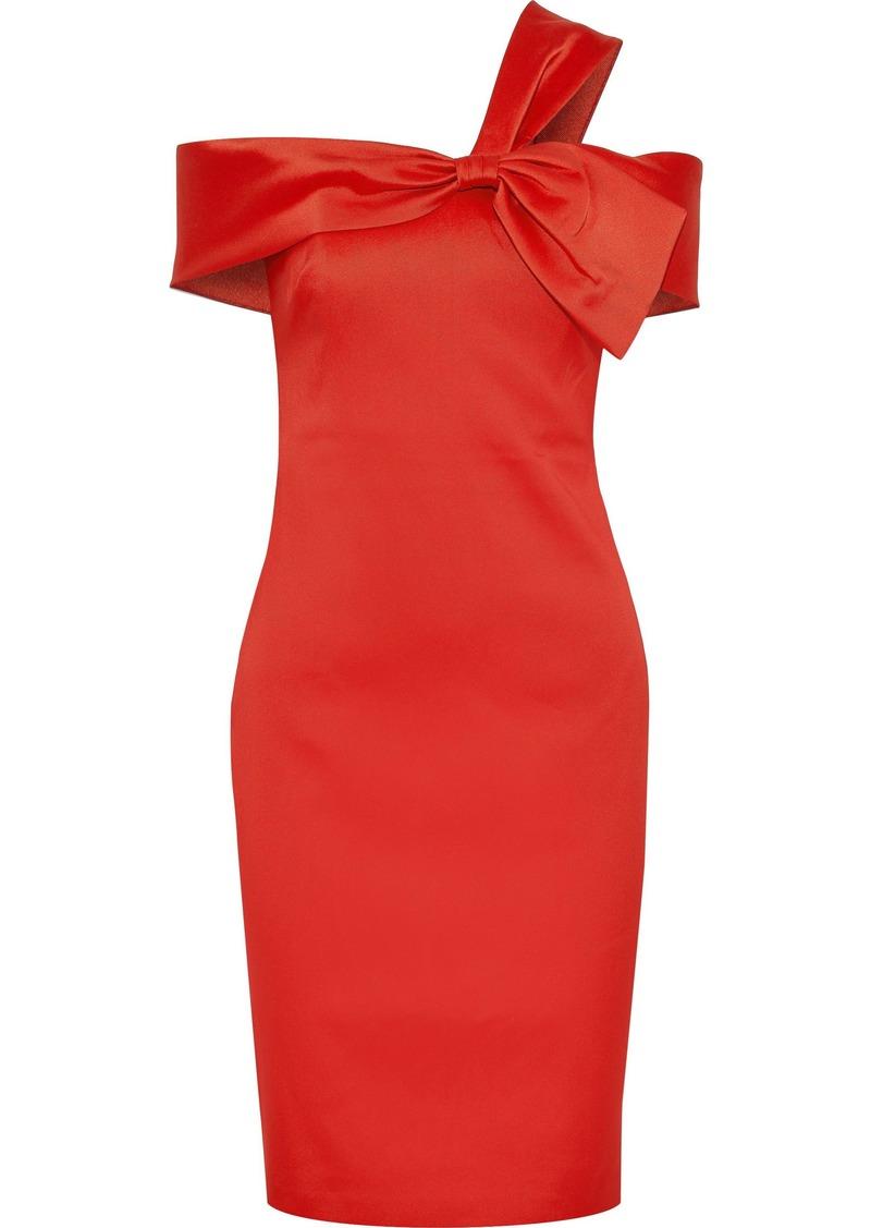 Badgley Mischka Woman Knotted Satin-twill Dress Tomato Red