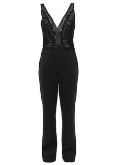 Badgley Mischka Woman Lace-paneled Neoprene Jumpsuit Black