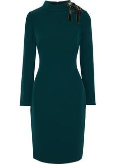 Badgley Mischka Woman Lace-up Stretch-cady Dress Dark Green