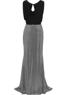 Badgley Mischka Woman Layered Cady And Sequined Metallic Stretch-jersey Gown Silver