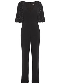 Badgley Mischka Woman Layered Embellished Lace-trimmed Stretch-cady Jumpsuit Black