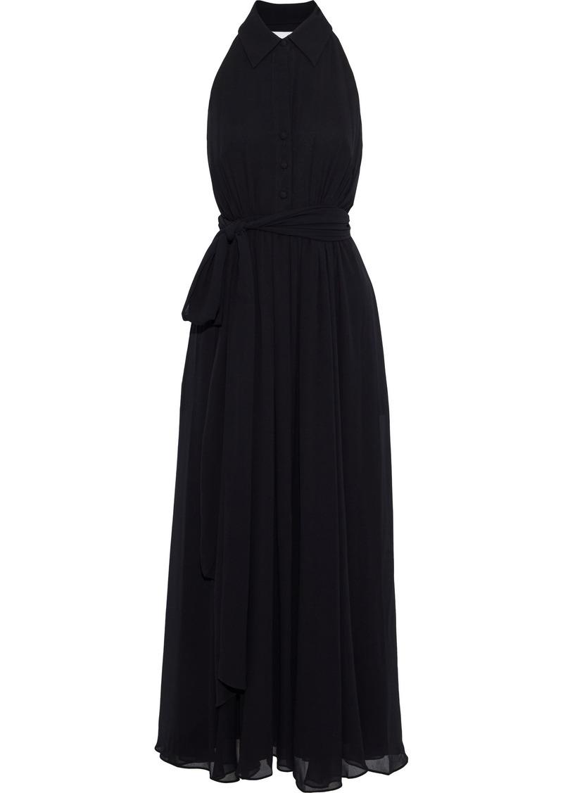 Badgley Mischka Woman Layered Gathered Chiffon Halterneck Gown Black