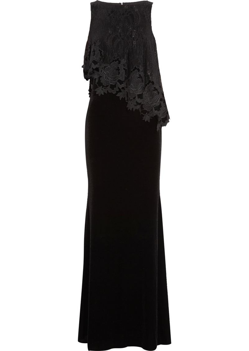 Badgley Mischka Woman Layered Guipure Lace And Cady Gown Black