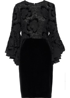 Badgley Mischka Woman Layered Guipure Lace And Velvet Mini Dress Black