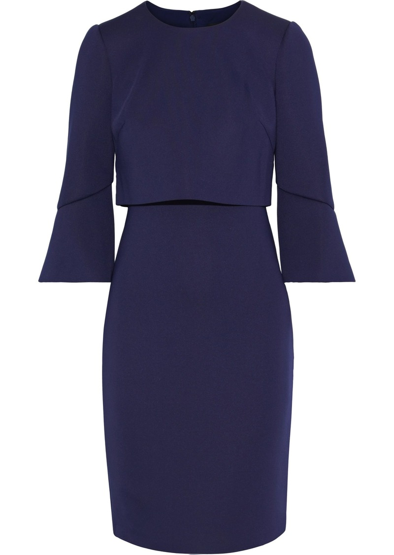 Badgley Mischka Woman Layered Neoprene Dress Dark Purple