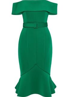 Badgley Mischka Woman Off-the-shoulder Belted Neoprene Dress Green