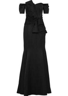 Badgley Mischka Woman Off-the-shoulder Bow-embellished Jacquard Gown Black
