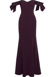 Badgley Mischka Woman Off-the-shoulder Bow-embellished Stretch-cady Gown Purple
