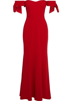 Badgley Mischka Woman Off-the-shoulder Bow-embellished Stretch-cady Gown Red