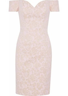 Badgley Mischka Woman Off-the-shoulder Brocade Mini Dress Pastel Pink