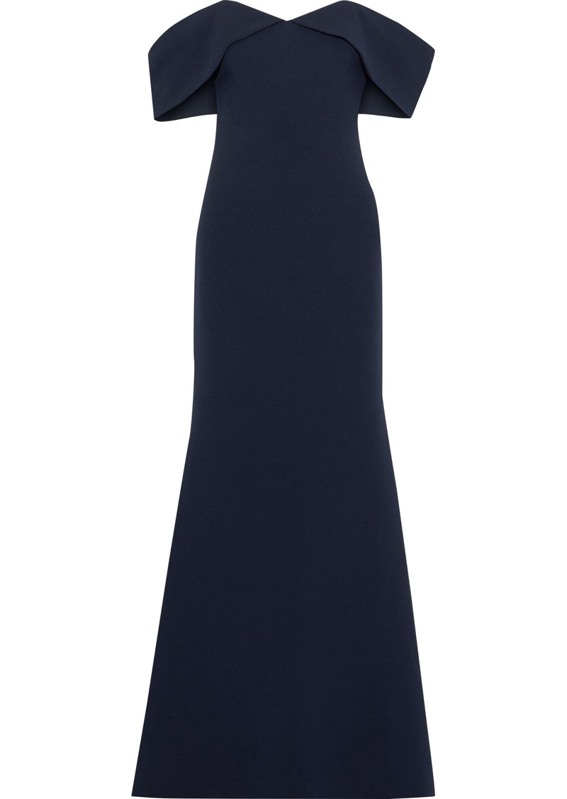 Badgley Mischka Woman Off-the-shoulder Layered Stretch-crepe Gown Navy