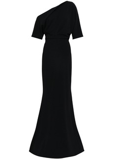 Badgley Mischka Woman Off-the-shoulder Draped Stretch-cady Gown Black