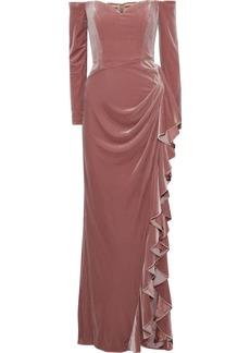 Badgley Mischka Woman Off-the-shoulder Draped Velvet Gown Antique Rose