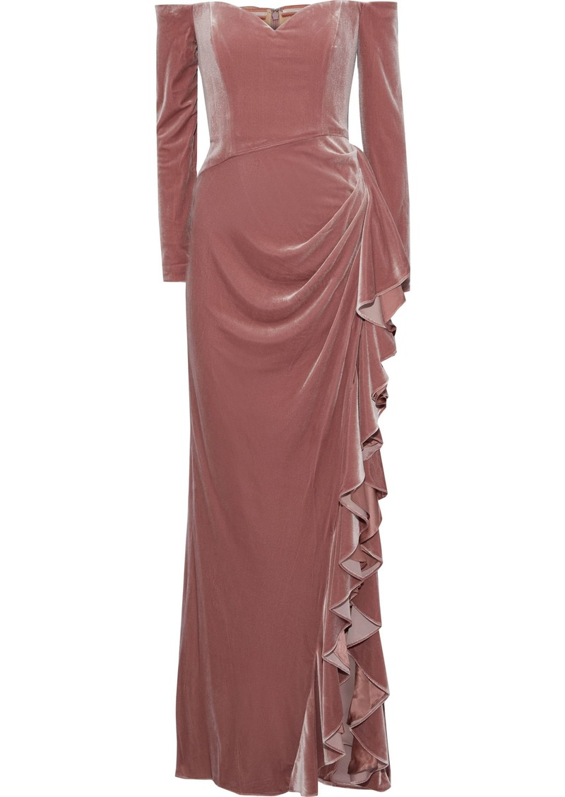 Badgley Mischka Woman Off-the-shoulder Draped Velvet Gown Antique Rose