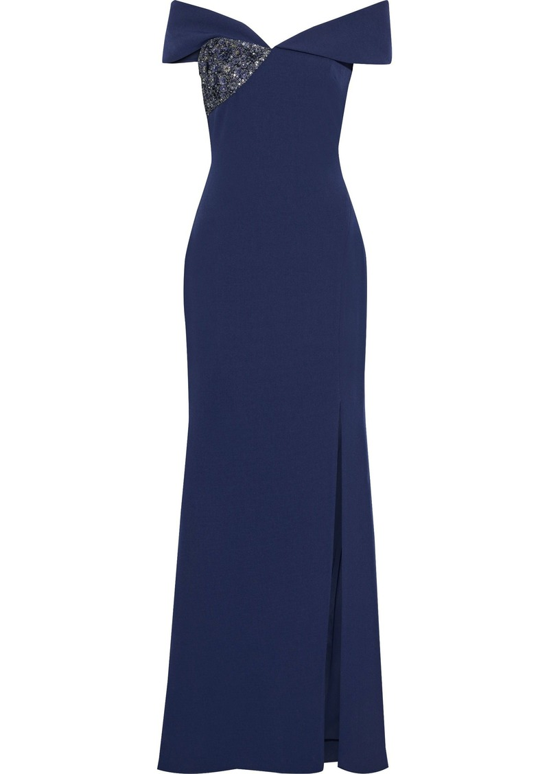 Badgley Mischka Woman Off-the-shoulder Embellished Crepe Gown Indigo