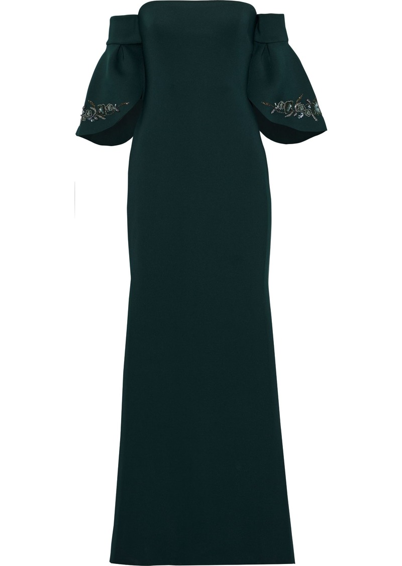 Badgley Mischka Woman Off-the-shoulder Embellished Neoprene Gown Forest Green