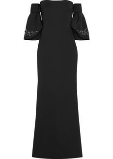 Badgley Mischka Woman Off-the-shoulder Embellished Scuba Gown Black