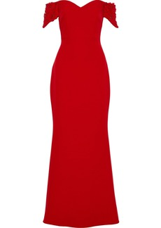 Badgley Mischka Woman Off-the-shoulder Embellished Stretch-crepe Gown Red