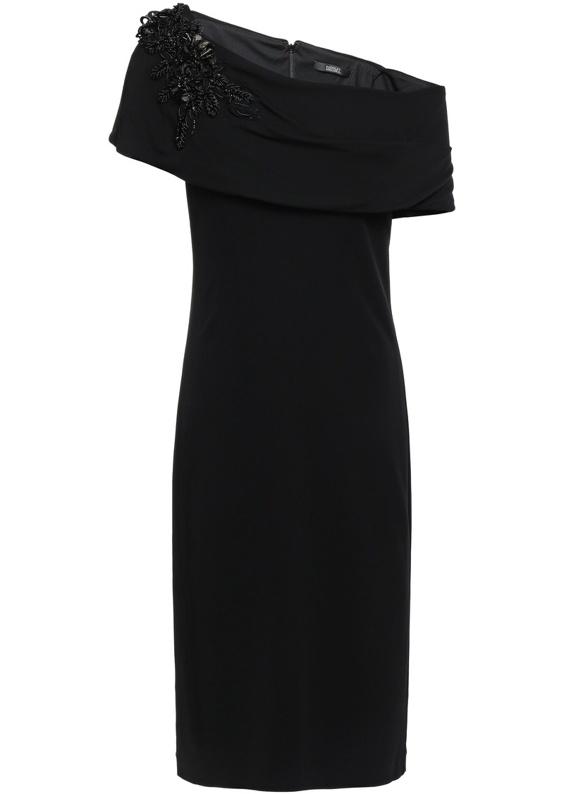 Badgley Mischka Woman Off-the-shoulder Embellished Stretch-jersey Dress Black