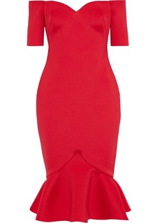 Badgley Mischka Woman Off-the-shoulder Fluted Scuba Dress Tomato Red