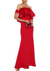 Badgley Mischka Woman Off-the-shoulder Layered Silk-organza And Crepe Gown Red