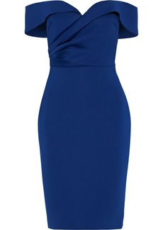 Badgley Mischka Woman Off-the-shoulder Pleated Scuba Dress Royal Blue