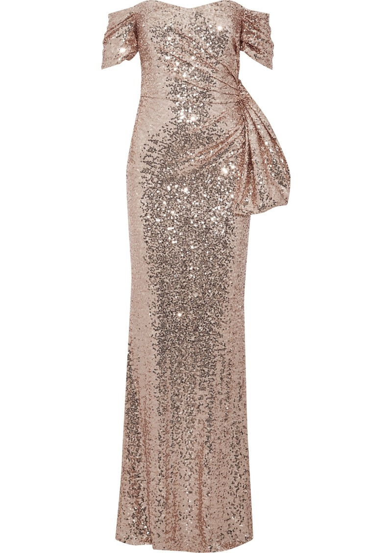 Badgley Mischka Woman Off-the-shoulder Knotted Sequined Tulle Gown Rose Gold