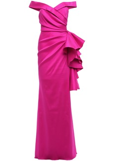 Badgley Mischka Woman Off-the-shoulder Pleated Ruffled Faille Gown Magenta