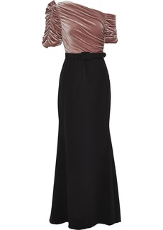 Badgley Mischka Woman Off-the-shoulder Ruched Velvet-paneled Cady Gown Blush