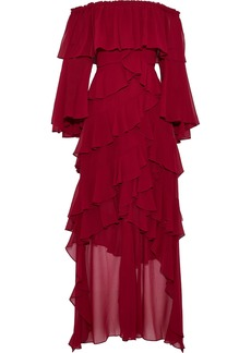 Badgley Mischka Woman Off-the-shoulder Ruffled Chiffon Gown Burgundy