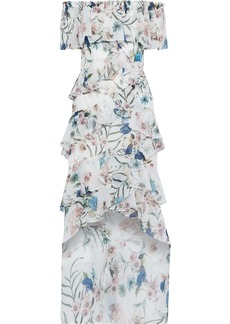 Badgley Mischka Woman Off-the-shoulder Ruffled Floral-print Chiffon Gown White