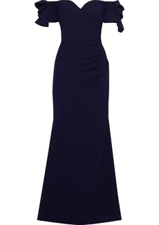 Badgley Mischka Woman Off-the-shoulder Ruffled Gathered Crepe Gown Navy
