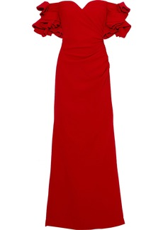 Badgley Mischka Woman Off-the-shoulder Ruffled Gathered Crepe Gown Red