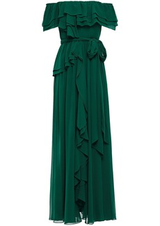 Badgley Mischka Woman Off-the-shoulder Ruffled Georgette Gown Forest Green