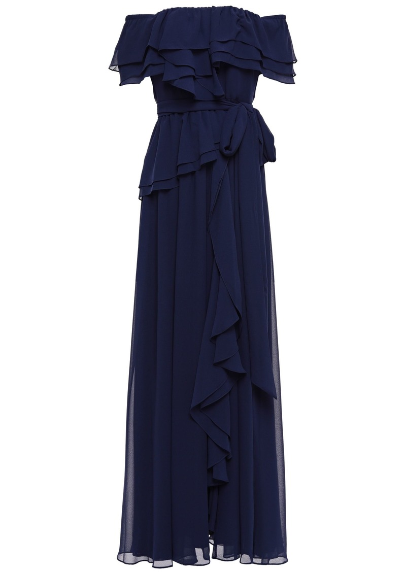 Badgley Mischka Woman Off-the-shoulder Ruffled Georgette Gown Indigo