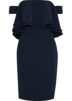 Badgley Mischka Woman Off-the-shoulder Ruffled Stretch-ponte Dress Navy