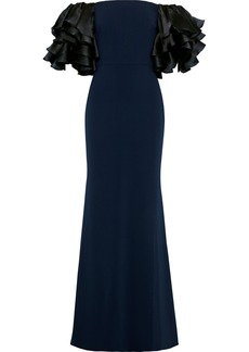Badgley Mischka Woman Off-the-shoulder Ruffled Satin-paneled Cady Gown Navy