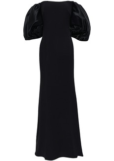 Badgley Mischka Woman Off-the-shoulder Satin-paneled Cady Gown Black