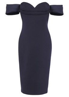 Badgley Mischka Woman Off-the-shoulder Scuba Dress Navy